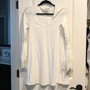 White dress with bell sleeves